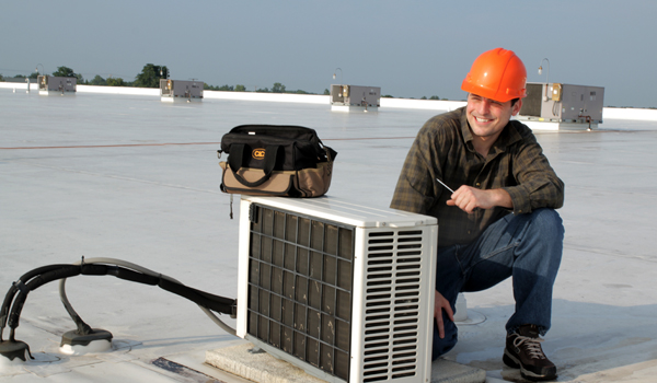 A HVAC worker contemplates HVAC marketing.