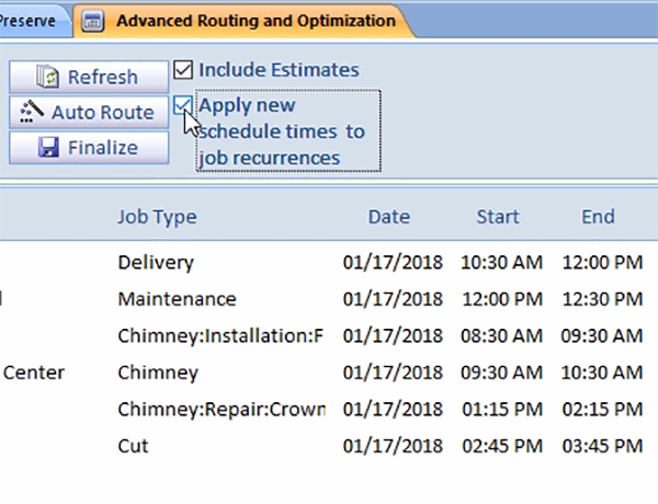 Apply New Schedule Times to Job Recurrences