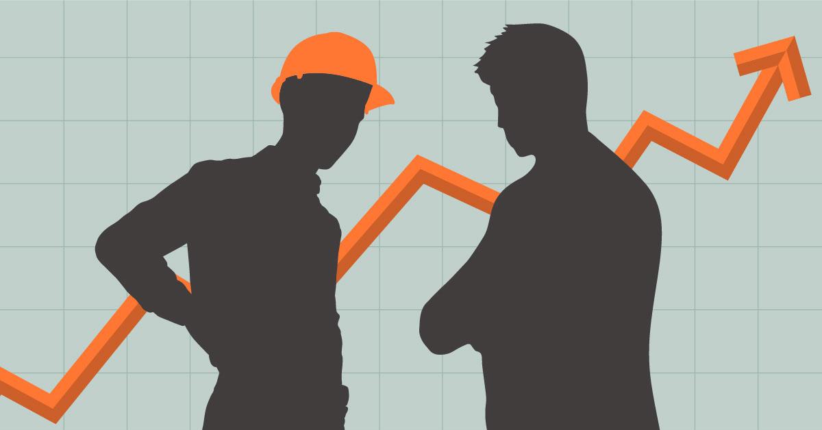 HVAC technician speaking to client