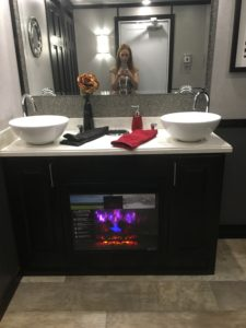 fireplace in bathroom trailer