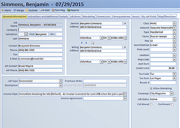 A customer record in HVAC software.