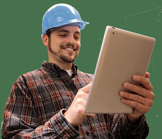 Technician using Smart Service field service app on tablet
