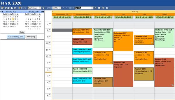 HVAC Booking Software Scheduler Screen