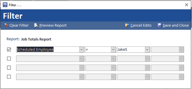 Field Service Reports Filtering