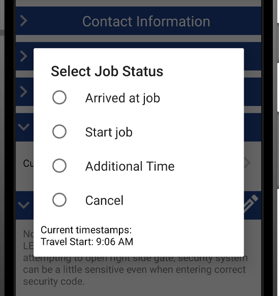 Smart Service Time Tracking: Begin Work