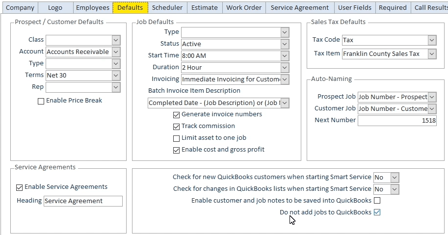 Smart Service Option to Not Add Jobs to QuickBooks