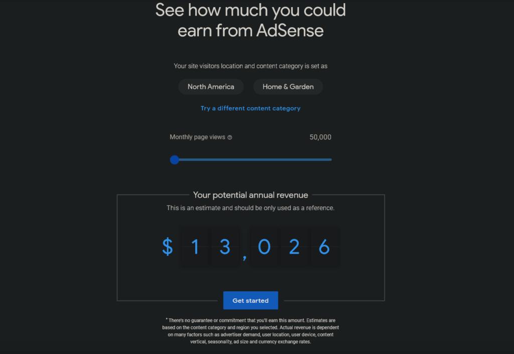 HVAC website ad revenue estimate
