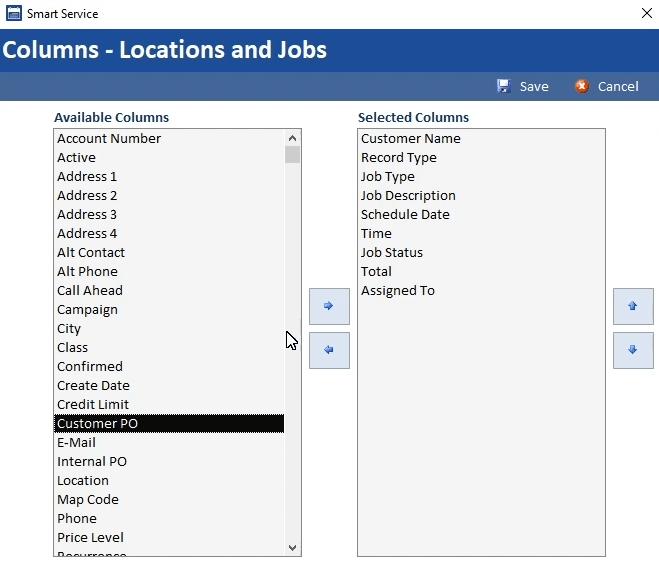 Locations/Jobs Columns in Customer Record