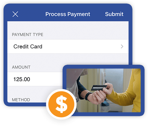 Technician collecting credit card payment on site