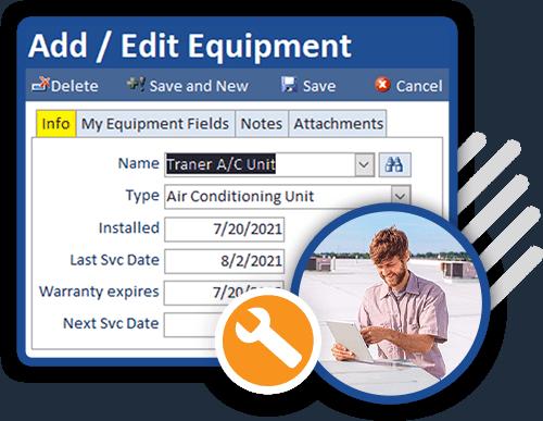 technician updating equipment information