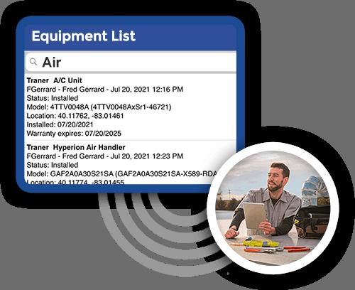 technician using Smart Service equipment list
